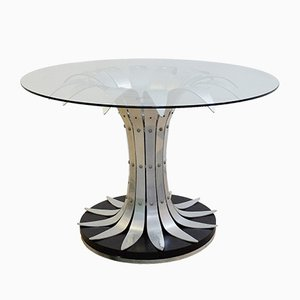 Vintage Brushed Chrome Flower and Glass Dining Table