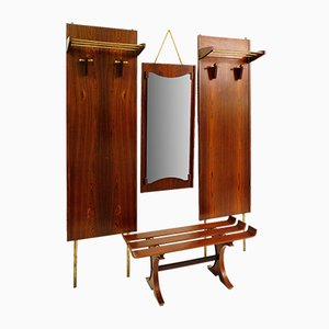 Vintage Italian Rosewood Hall Coat Rack, Mirror & Bench Set