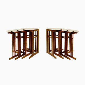 Antique Mahogany Corner Nesting Tables by Gustave Serrurier Bovy for Bach, Set of 4