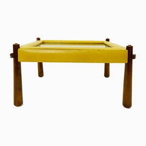 Small Brazilian Leather Coffee Table by Percival Lafer, 1970s