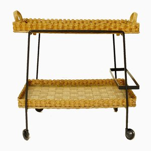 Vintage Bamboo & Wicker Bar Cart