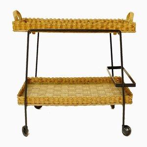 Vintage Barwagen aus Bambus & Korbgeflecht