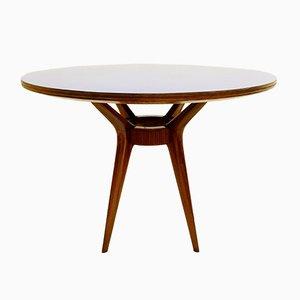 Tavolo da pranzo rotondo in legno di formica blu, Italia, anni '50
