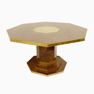 Octagonal Cedar, Burl Veneer, and Brass Dining Table by Jean Claude Mahey, 1970s