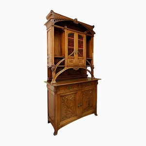 Art Nouveau Solid Walnut Buffet wtih Double Section, 1900s