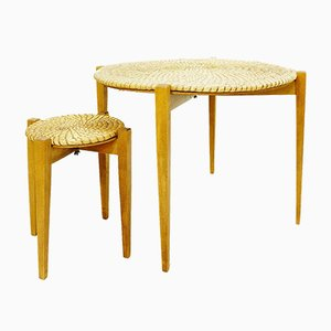 Wooden Nesting Tables with Straw Tops, 1970s