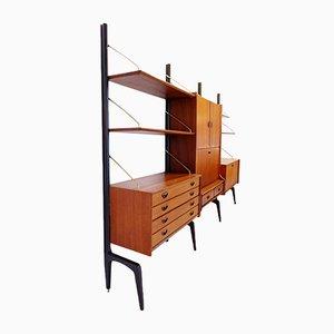 Système d'Étagère Modulable en Teck par Louis Van Teeffelen pour Wébé, 1950s