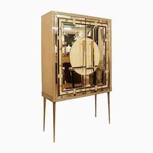 Italian Glass and Brass Cabinet, 1980s