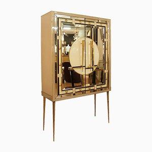 Mueble italiano de vidrio y latón, años 80