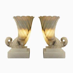 Lámparas de alabastro, años 70. Juego de 2