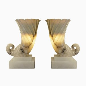 Vintage Alabaster Lamps, Set of 2