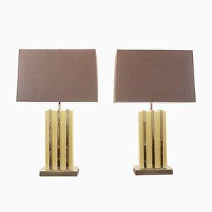 Lámparas de mesa de cromo y resina sintética, años 70. Juego de 2