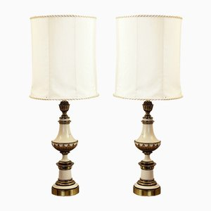 Lámparas de mesa de bronce dorado, años 60. Juego de 2