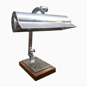 Vintage Art Deco Style Nickel-Plated Brass Table Lamp with a Walnut Wood Base