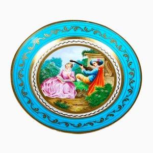 Assiette Antique en Porcelaine de Sèvres avec Scènes Galantes, France