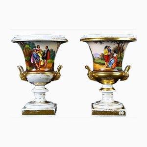 Antique French Porcelain Crater Vases, Set of 2