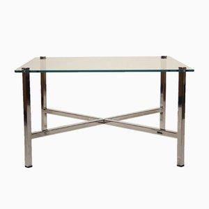 Table Basse Mid-Century en Chrome et Verre Trempé par Milo Baughman, 1970s