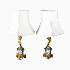 Antique French Enlightenment Bronze & Porcelain Sevres Lamps, Set of 2