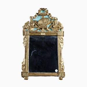 Antiker geschnitzter vergoldeter & lackierter Spiegel