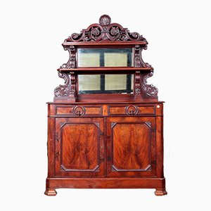 Antique Belgian Mahogany Sideboard with Plate Racks