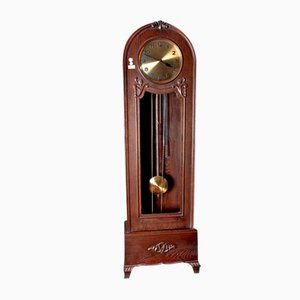 Antique Carved Oak Column Clock