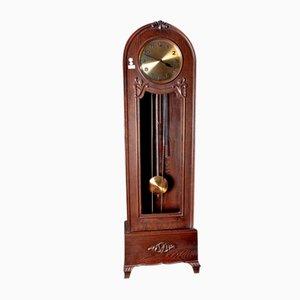 Horloge Colonne Antique en Chêne Sculpté