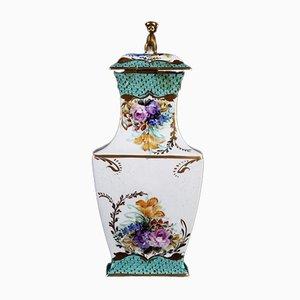 Vase Antique en Porcelaine Blanche et Verte avec Couvercle de Manufacture de Limoges, France