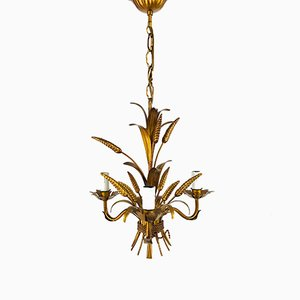 German Golden Wheat Sheaf Florentine Pendant Lamp from Hans Kögl, 1970s