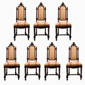 Antike Esszimmerstühle aus Nussholz, 7er Set