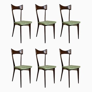 Brown Wood and Green Velvet Dining Chairs by Ico Luisa Parisi for Ariberto Colombo, 1950s, Set of 6