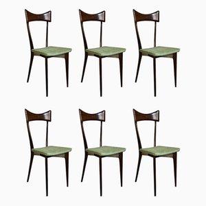 Sedie da pranzo in legno marrone e velluto verde di Ico & Luisa Parisi per Ariberto Colombo, anni '50, set di 6