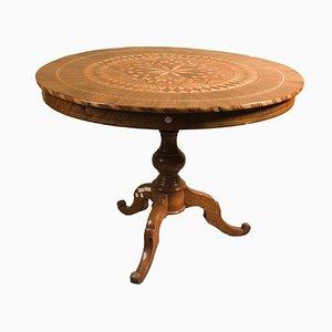Runder antiker Tisch aus Nussholz von Sorrentino