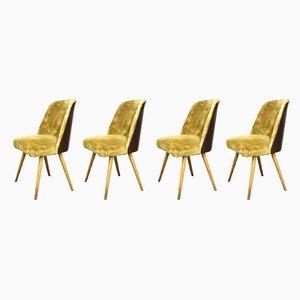 Deutsche Mid-Century Esszimmerstühle mit Kunstfellbezug, 1960er, 4er Set