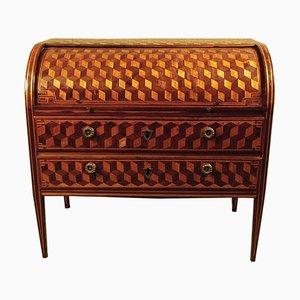 Antiker Schreibtisch aus Nussholz & Ahornholz