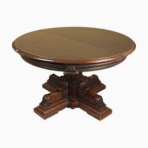 Runder antiker Tisch aus Nussholz