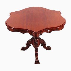 Antiker rundgezackter runder Tisch aus Mahagoni