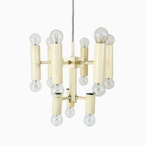 Lámpara de araña Mid-Century blanca de Gaetano Sciolari, años 60