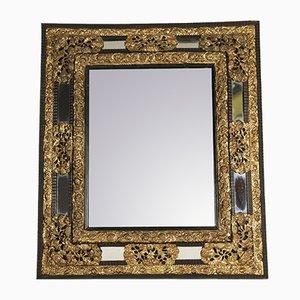 Napoleon III Spiegel mit Rahmen aus Messing & geschwärztem Holz