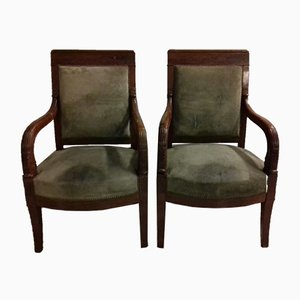 Antique French Empire Mahogany Lounge Chairs from Loret, Set of 2