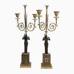 Antike Kerzenhalter aus Bronze & vergoldetem Marmor, 2er Set