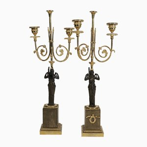 Antique Bronze, Gold Gilt & Marble Candleholders, Set of 2
