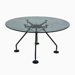 Model Nomos Post-Modern Chrome and Round Glass Table by Norman Foster for Tecno, 1980s