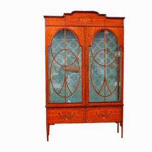 Antique Satinwood Showcase Cabinet