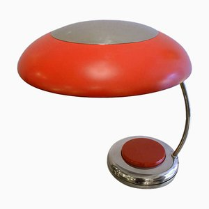 Mid-Century Red Nickel Desk or Table Lamp, 1960s