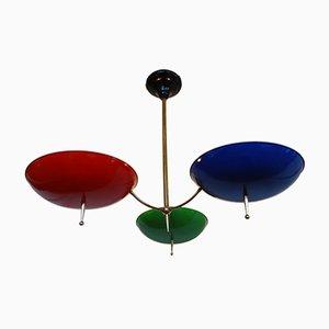 Dreifarbige italienische Hängelampe, 1950er
