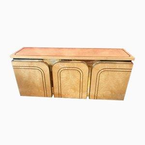 Aparador de madera de arce, madera nudosa y dorado de Willy Rizzo para Mario Sabot, años 70