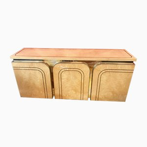 Maple, Burl, and Gilt Gold Buffet by Willy Rizzo for Mario Sabot, 1970s