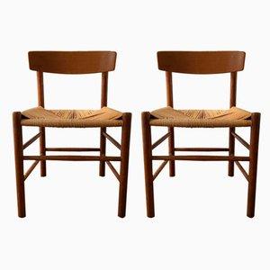 Dänische Esszimmerstühle aus Holz von Børge Mogensen für FDB, 1960er, Set of 4