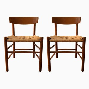 Danish Wooden Dining Chairs by Børge Mogensen for FDB, 1960s, Set of 4