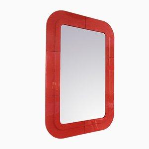 Espejo italiano vintage de plástico rojo de Anna Castelli Ferrieri para Kartell, años 60